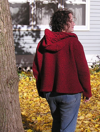 red Rogue cardigan back, after felting