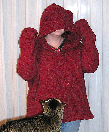 red Rogue cardigan, way too big