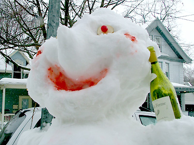 happy drunk snowman