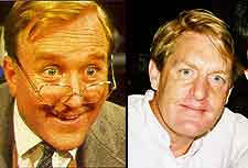 Separated at birth? Robert Hardy and Mark Strickson