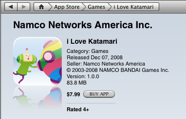 Katamari Damacy in the iTunes store