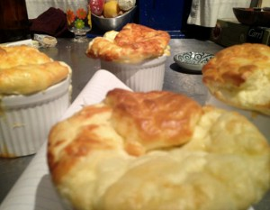 four individual cheese souffles